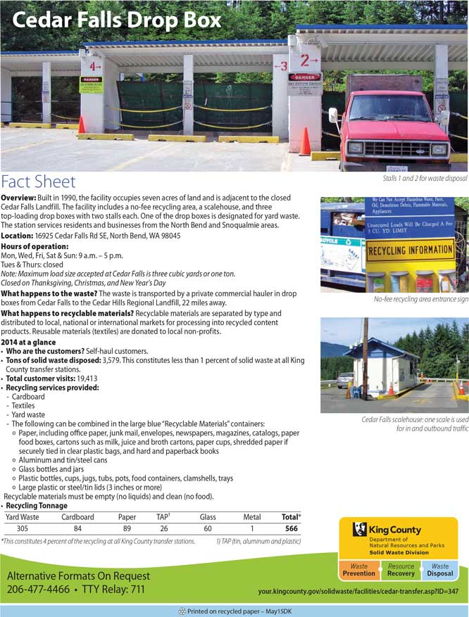Fact sheet for Cedar Falls Drop Box