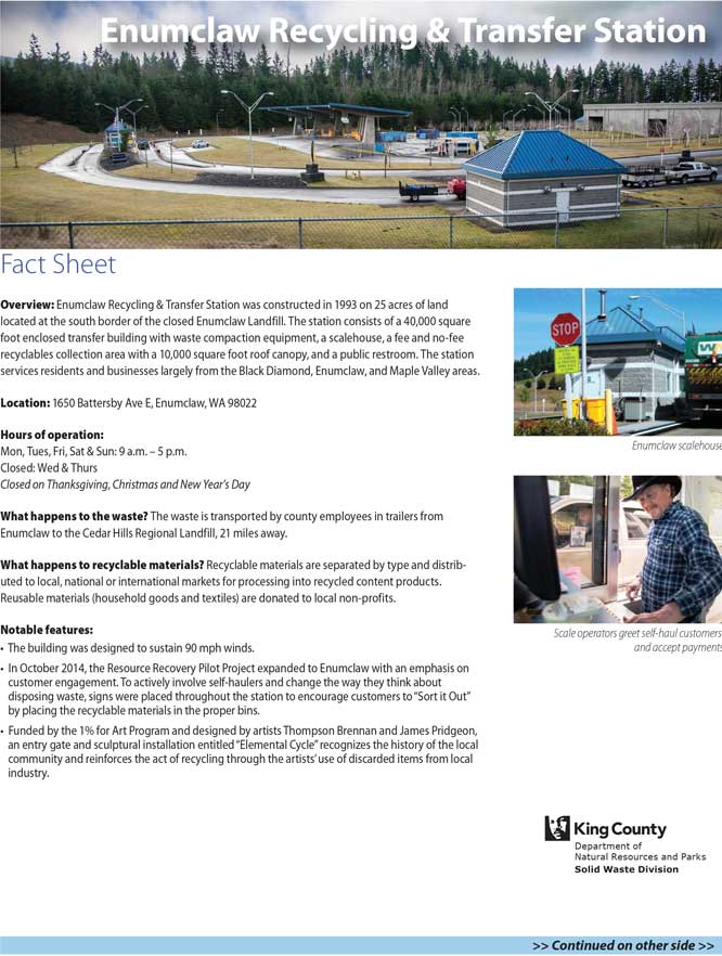 Fact sheet for Enumclaw Recycling & Transfer Station