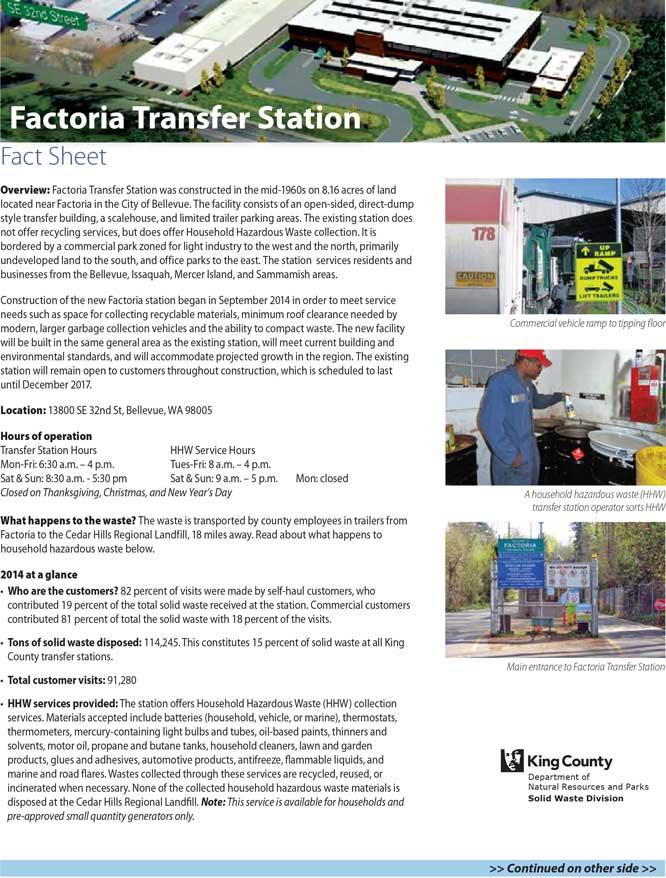 Fact sheet for Factoria Transfer Station