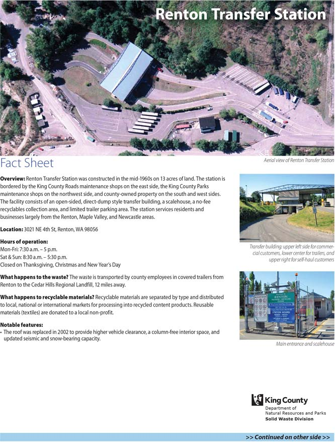 Fact sheet for Renton Transfer Station