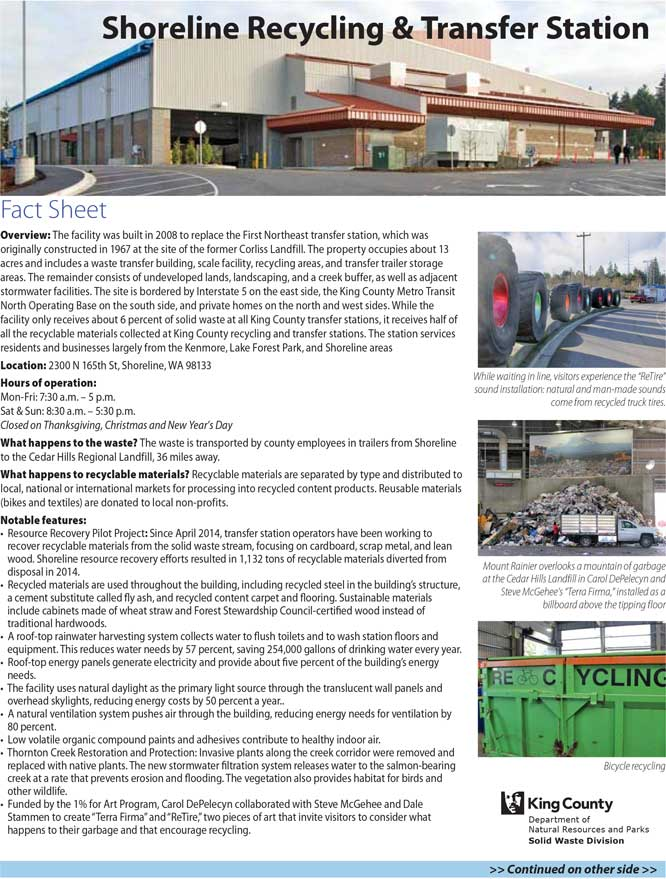 Fact sheet for Shoreline Recycling & Transfer Station