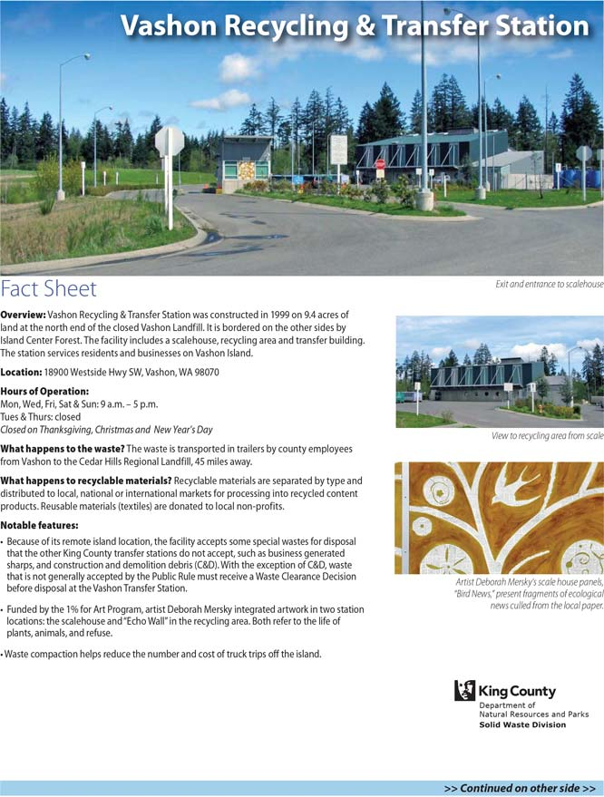 Fact sheet for Vashon Recycling & Transfer Station