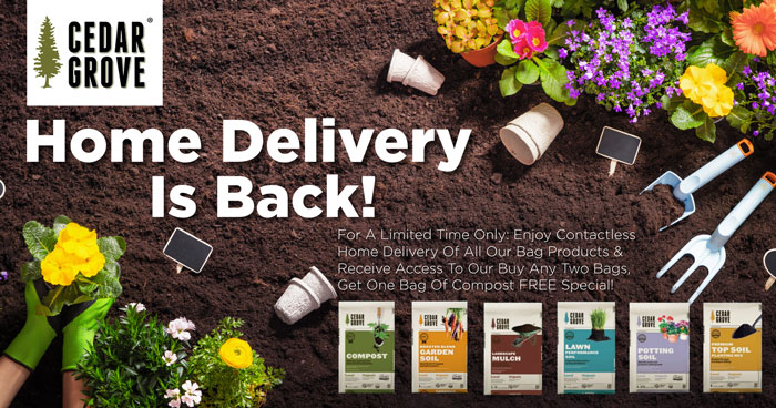 Cedar Grove Compost Days graphic: Contactless home delivery is back.