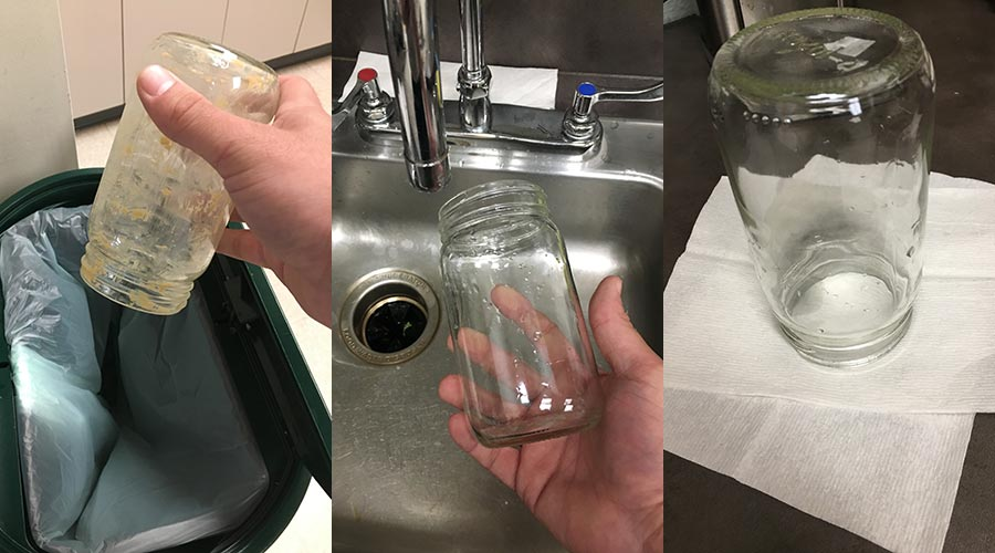 Empty, clean, and dry - image showing a glass jar at all three stages