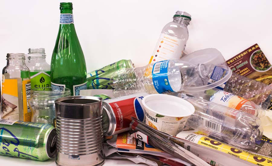 What to recycle - image of mixed materials for recycling