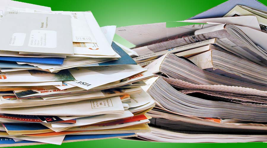Waste prevention - image of junk mail and catalogs.