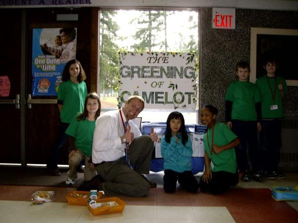 Camelot Elementary students with reuse bins