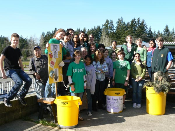 Leota Junior High students and staff kick off their food scrap collection program