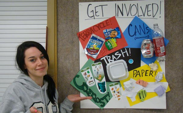 High school student at Two Rivers shares recycling information