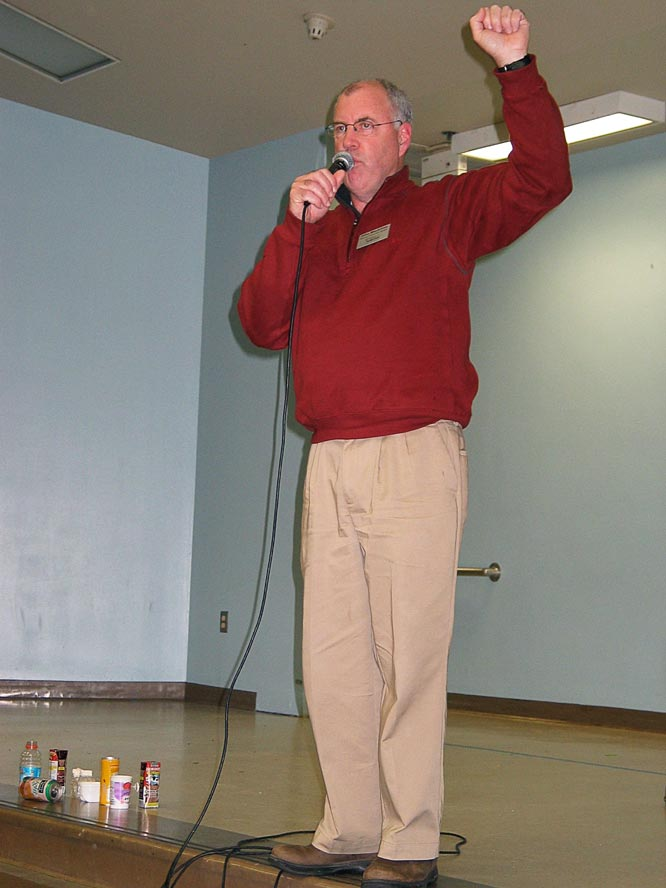 John Macartney speaks to students at lunch time