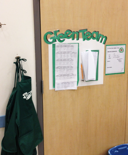 Green Team monitor schedule & aprons