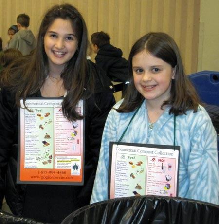 Students help educate fellow students about food scrap collection in the Wilder Elementary lunchroom