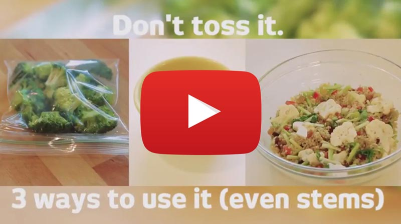 Learn how to use up extra broccoli (even stems)! (YouTube)