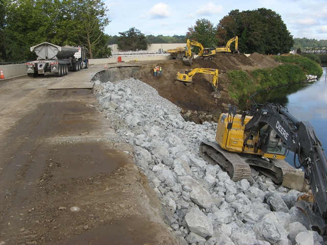 A photo of the use of riprap in the Desimone Levee Repair Project from fall 2015.