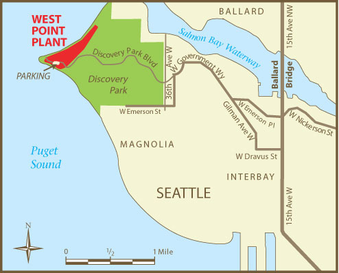 West Point Treatment Plant vicinity map