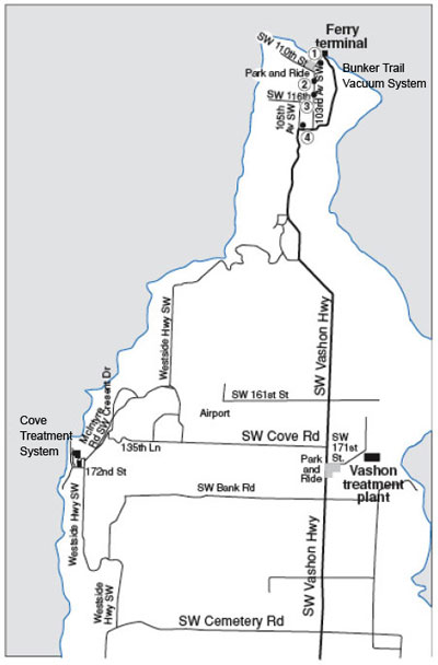 Detail map of Vashon Island