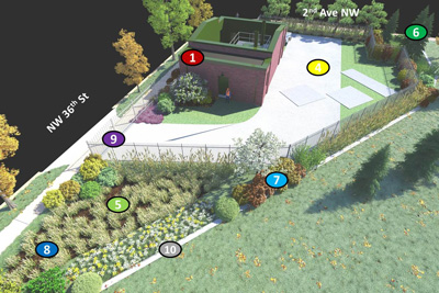 The rain garden in the lower left corner will feature plants commonly found on the Pacific Coast