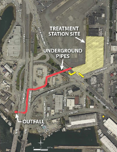 map of three project elements make up the Georgetown Wet Weather Treatment Station