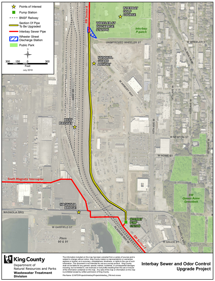 map of Interbay sewer pipe to be replaced