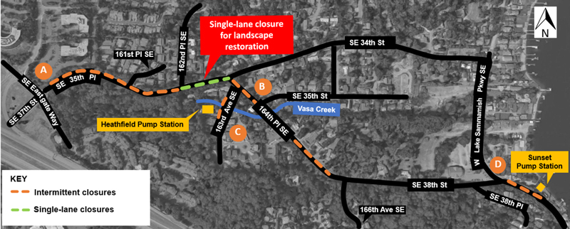 single lane closure map
