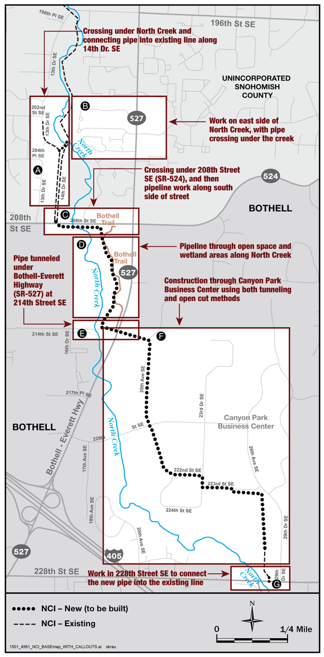 Vicinity map for North Creek Interceptor Project