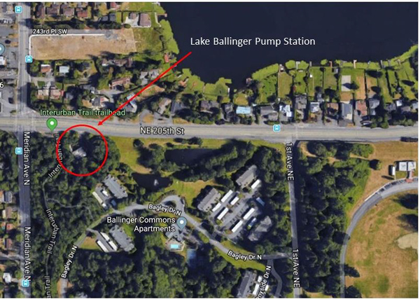 aerial map of the Lake Ballinger Pump Station