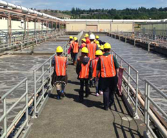 students touring a wastewater treatment plant