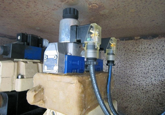 Solenoid located in the plant's emergency bypass gate hydraulic system