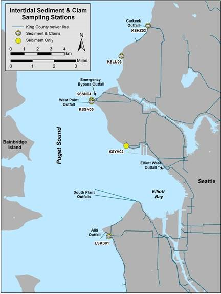 map of Intertidal Sediment & Clam sampling stations