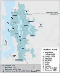 King County wastewater service area and treatment facilities