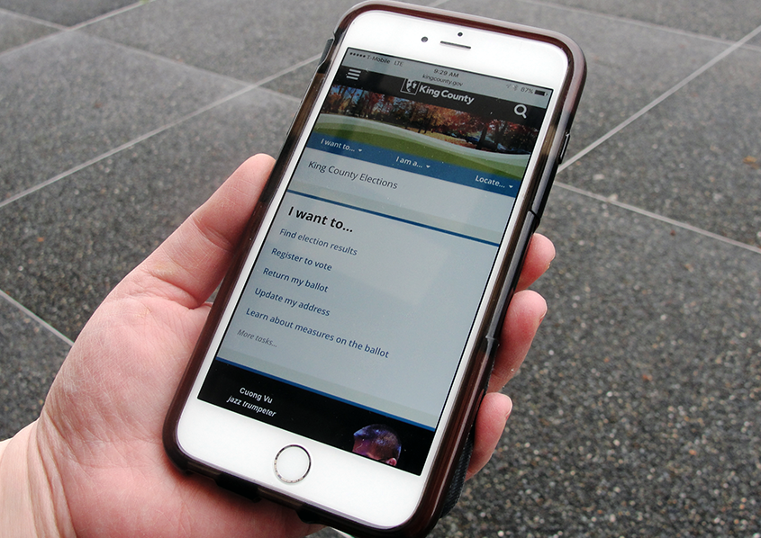 King County Elections website on mobile phone