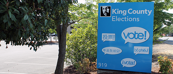 King County Elections building entrance