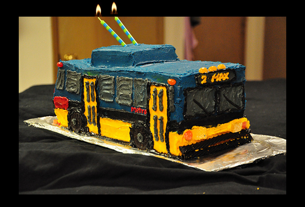 bus turning two years old cake