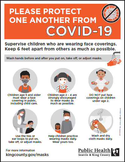 Supervise children who are wearing face coverings. Keep 6 feet apart from others as much as possible.