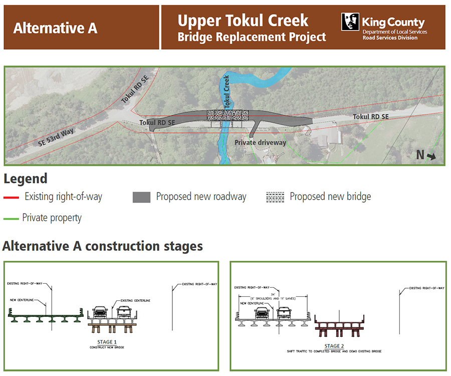 Upper Tokul Creek Bridge Alternative A. Image contains a map showing the proposed bridge location, map legend, and graphics of the different construction stages.