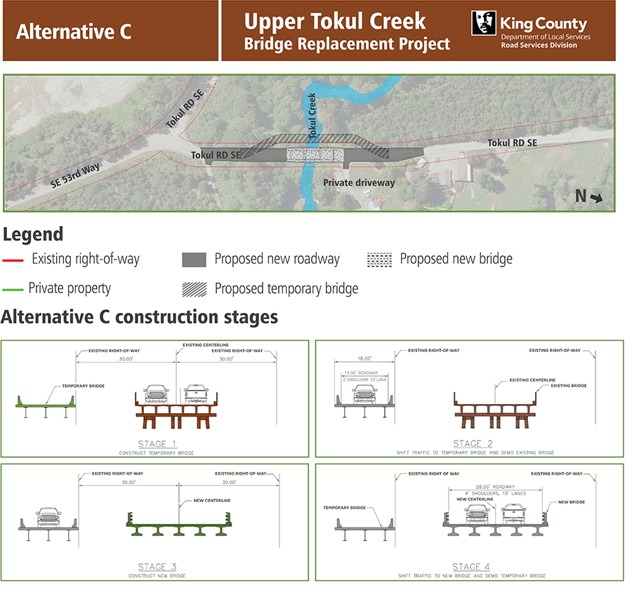 Upper Tokul Creek Bridge Alternative C. Image contains a map showing the proposed bridge location, map legend, and graphics of the different construction stages.