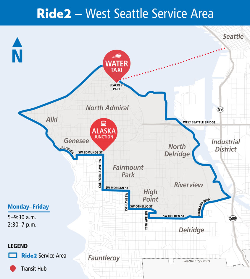 A map showing the Ride2 service boundaries in West Seattle.