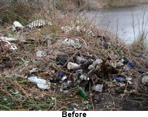 Photo of littered area by water before Code Enforcement involvement
