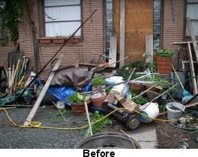 Photo of yard with debris before Code Enforcement involvement
