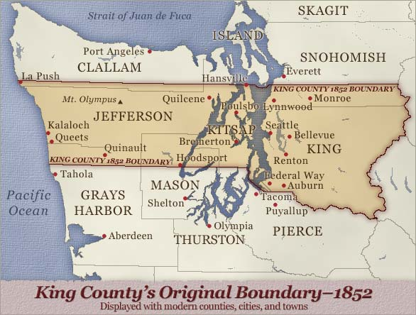 King County's boundary in 1852