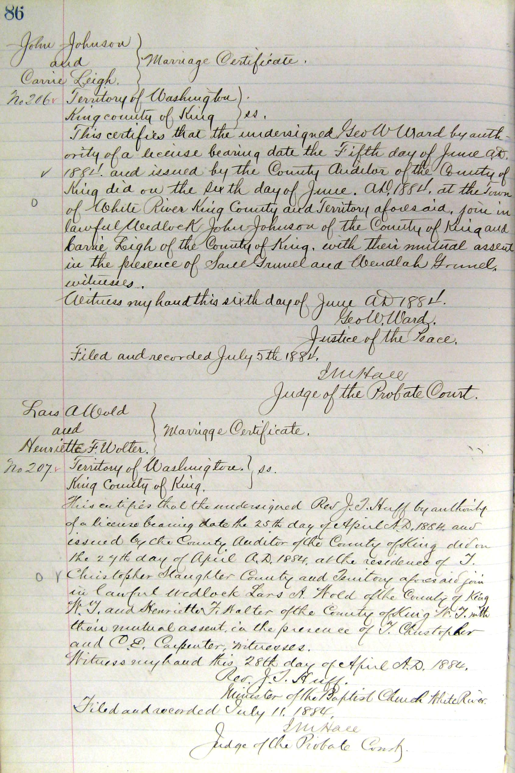 History of King County marriage certificates, 1853 to the