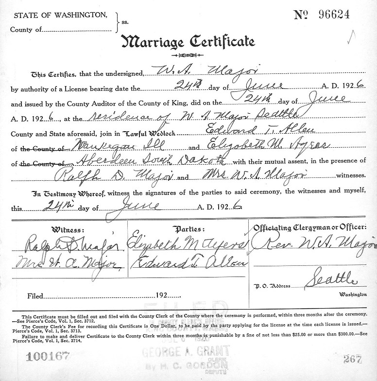state of washington marriage certificate