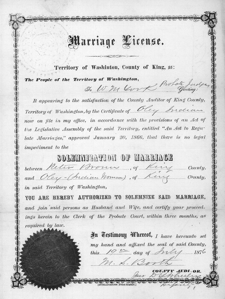 Marriage Licenses King County