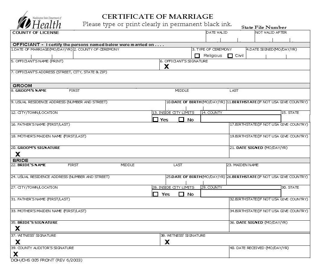 Marriage Certificates (1853-present) - King County