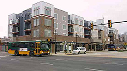 photo: building with bus in front