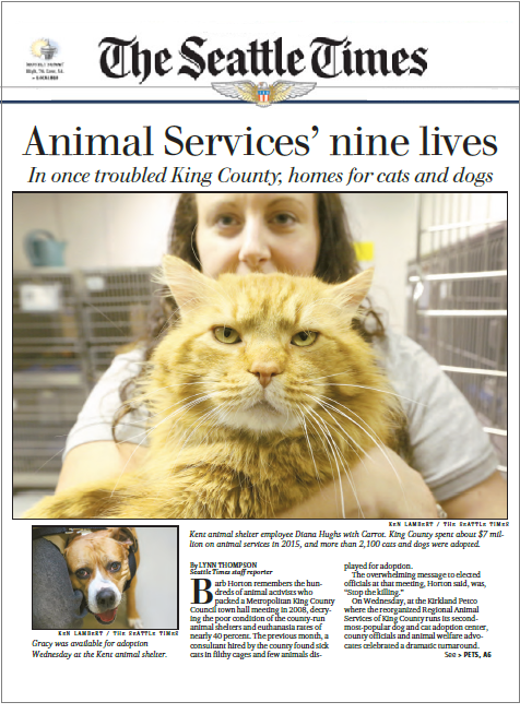 King County Animal Services story in the Seattle Times