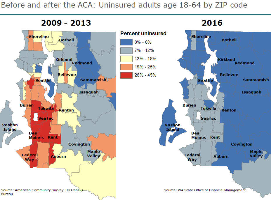 A chart of the ACA before and after in King County