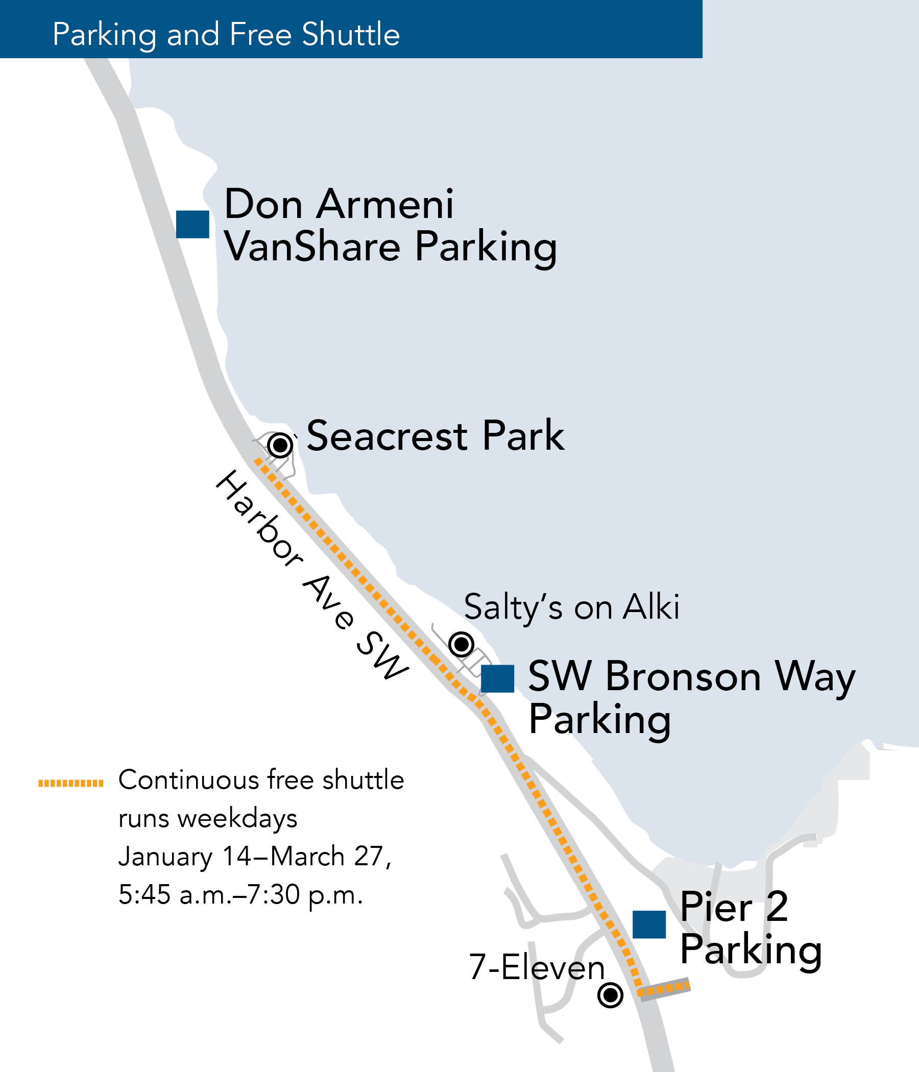 A map showing the Ride2 parking and shuttle zones.