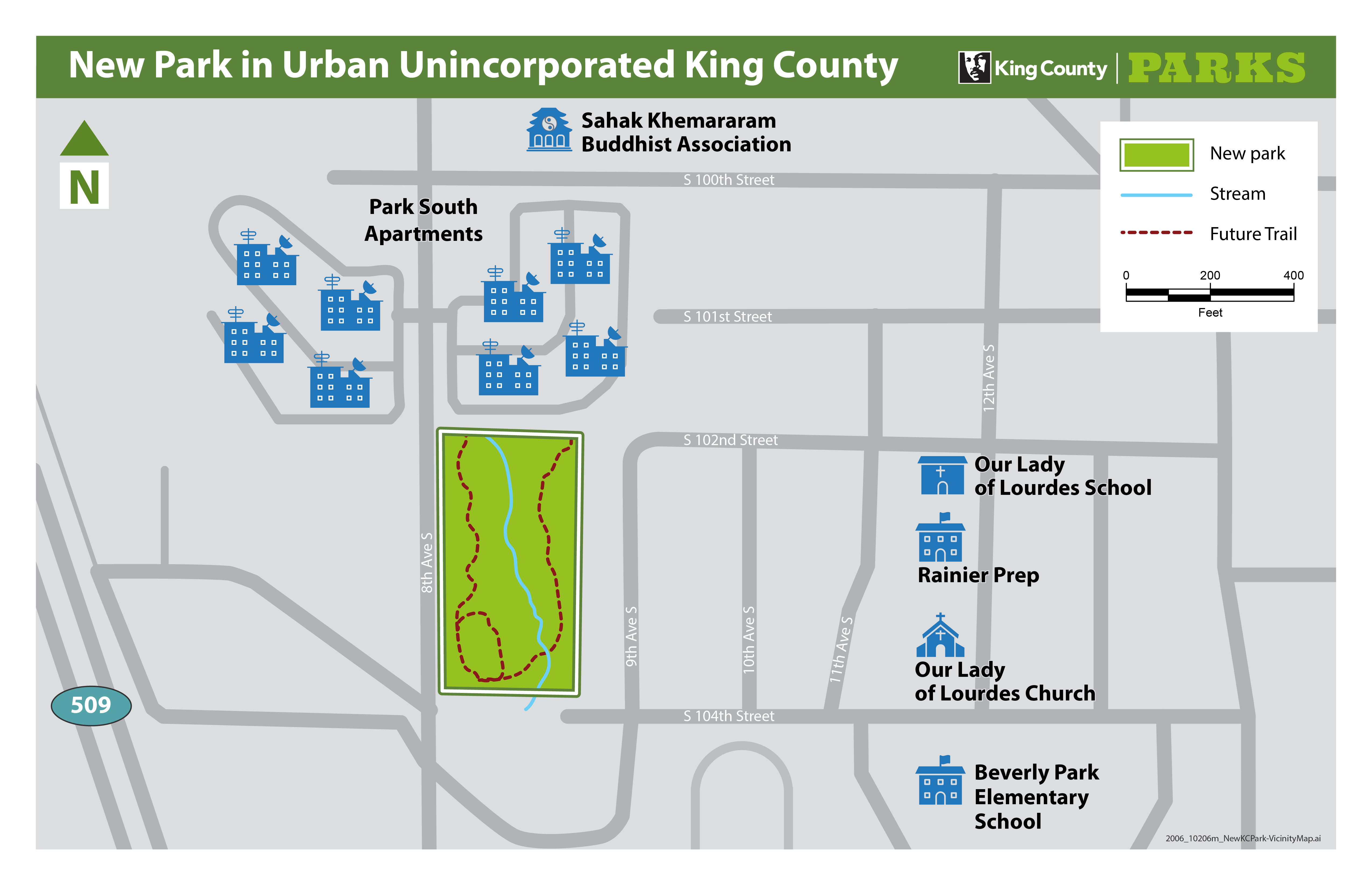 A map showing a new park in unincorporated King County.