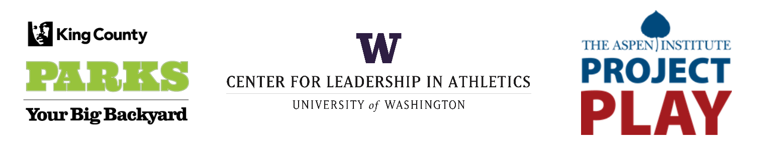 Logos for King County Parks, UW Center for Leadership in Athletics, and the Aspen Institute Project Play